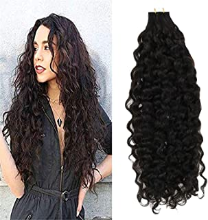 LaaVoo 22 inch 50g 20 Pcs Per Package Popular Natural Black Wavy Long Tape in Hair Extensions Soft Real Human Hair Glue in Extensions