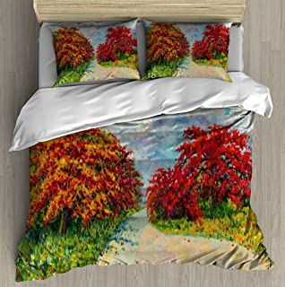 Abstract oil painting panorama landscape red orange color of Peacock Duvet Cover Set With Zipper Closure Pillowcase Retro ...