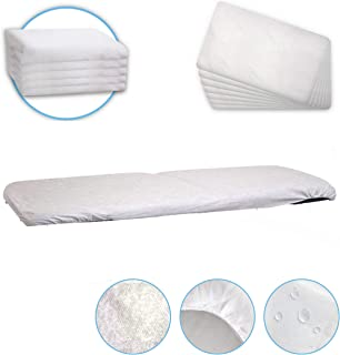 [Pack of 10] Waterproof Massage Table Sheets 28 x 72 inches - Disposable Fitted Cover for Spa, Wax and Tattoo Bed - Therapist and Esthetician Supplies - Non Woven 35 GSM Fabric