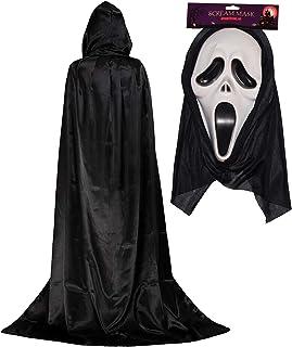 FANCY DRESS MASK # ADULT HALLOWEEN SCREAMER MASK WITH BLACK HAIR