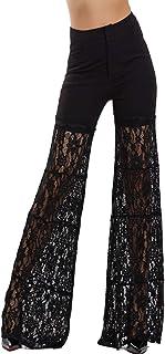 8313ca7659aaa2 Toocool - Pantaloni Donna Pizzo Trasparente Vita Alta Palazzo Campana  Eleganti Sexy MF8430