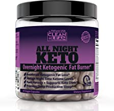 CLEAN+LEAN ALL NIGHT KETO: First Ever Overnight Ketogenic Fat Burner & Sleep Aid | BHB Ketones + MCT Oil Extract + Vitamins & Minerals | 24 HR Diet Sleep Great Lose Weight | All Natural & GF | 60 Caps