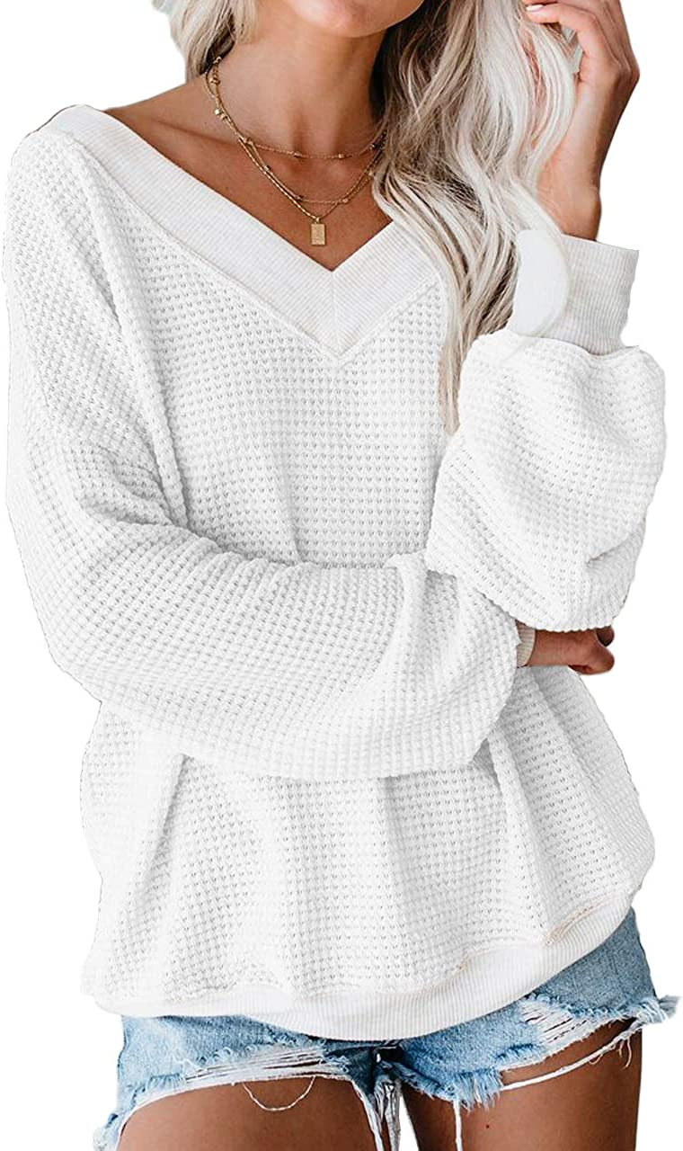 Allimy Women Causal Cold Shoulder Long Sleeve Waffle Knit Tops V Neckline Pullover Sweater