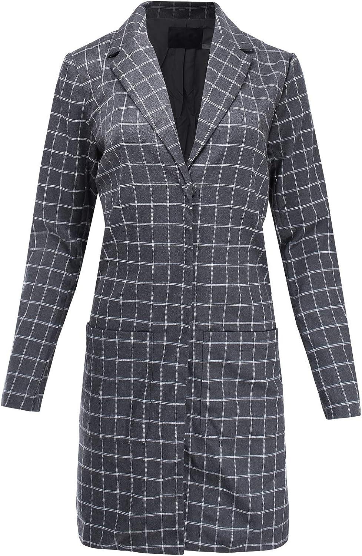 Ladies' Code Women's Business Office Wear Long Plaid Coat