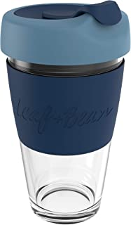 LEAF & BEAN Sorrento Glass Travel Cup, Clear/marine/midnight, DLE0052BL