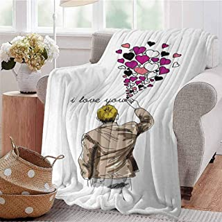CRANELIN Summer Comforter Blanket Romantic Comic Male Character Writing Declaration of Love with Heart Shapes Multicolor Bedroom Dorm Sofa Baby Cot Beach W70 xL84