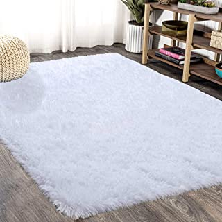 FlashLTD Fluffy Ultra Soft Shaggy Area Rugs for Bedroom Fluffy Carpet for Kids Room Bedside Nursery Mats (White, 5.3' x 7.5')