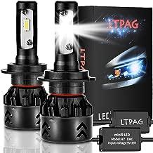 LTPAG Bombilla H7 LED Coche, 2pcs 72W 12000LM Lampara H7 LED 12V/24V Luces LED Coche H7, Faros Reemplazo de Halógena y Kit Xenón H7, Blanco 6000K, Garantía de 2 años