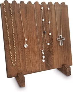 Mooca Wooden Plank Necklace Jewelry Display Stand for 8 Necklaces, Brown Color