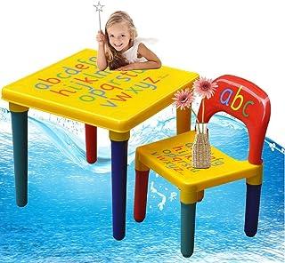Juego de sillas y mesa para niños, mesa infantil del alfabeto ABC, aprender la ilustración de las letras, de plástico