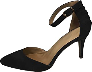 Women's Strappy Buckle Ankle Closed Pointed Toe Mid Heel Pump