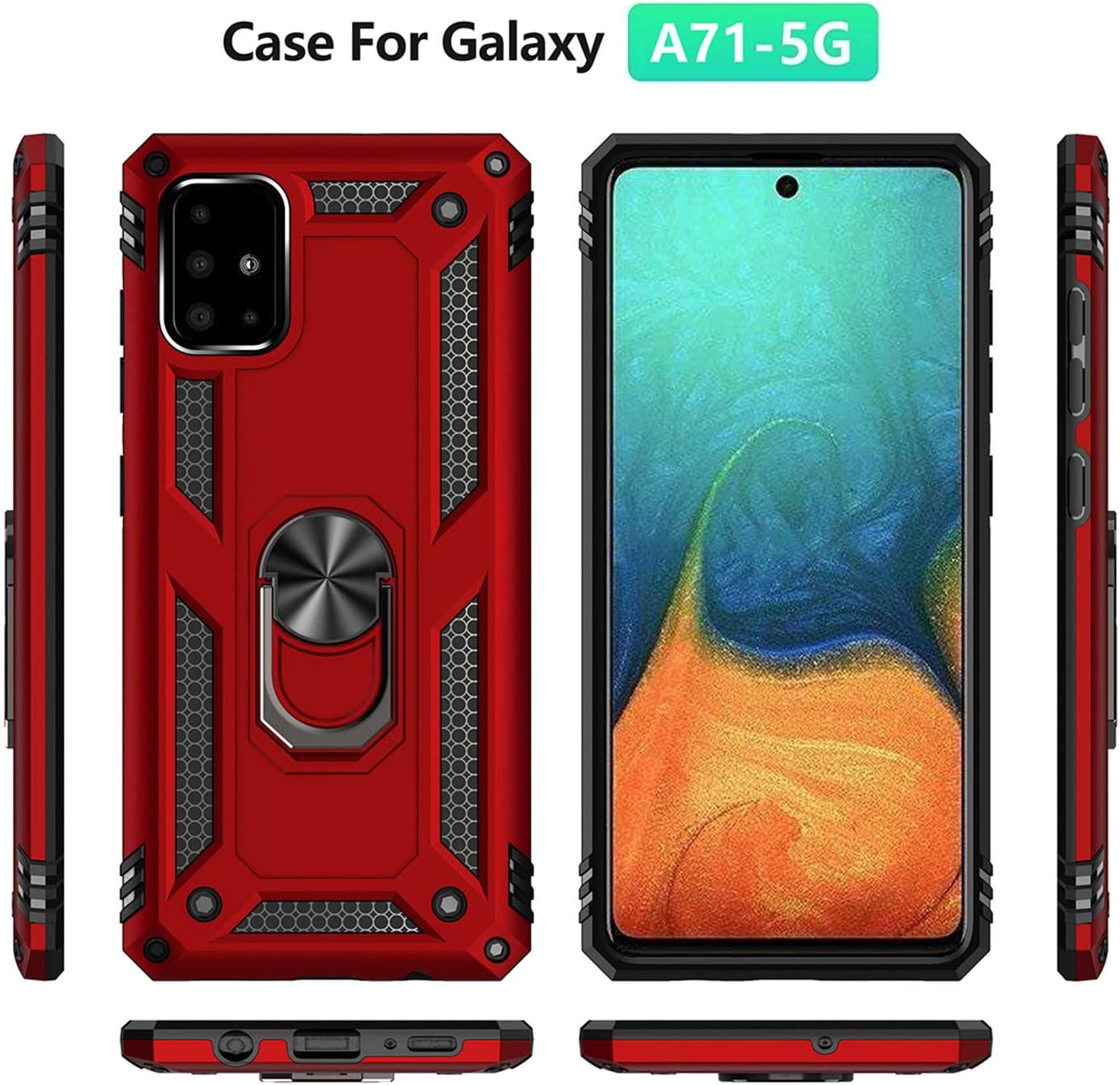 Blue A71 5G Case Samsung Galaxy A71 5G Cover 360 Degree Rotatable Ring Stand and Ring Holder Kickstand Fit Magnetic Car Mount