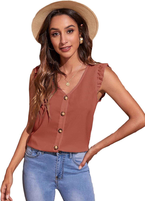 Floerns Women's Button Front Ruffle Trim Short Sleeve V Neck Blouse Shirt Tops