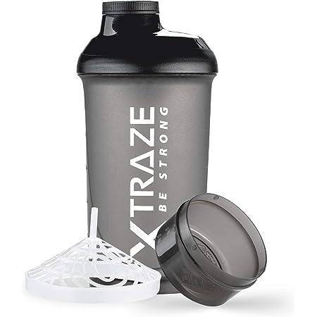 XTRAZE® Protéine Shaker 500 ml avec Compartiment à Poudre 150 ml, sans BPA, Bouteille de Fitness Étanche avec Graduation, Tamis pour Boissons Protéinées Crémeuses sans Grumeaux, De Couleur Noir