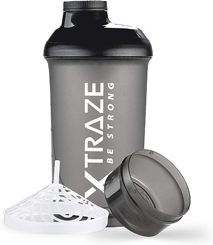 XTRAZE® Protéine Shaker 500 ml avec Compartiment à Poudre 150 ml, sans BPA, Bouteille de Fitness Étanche avec Graduat...