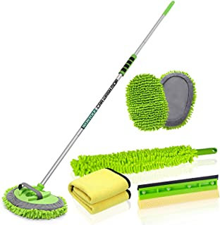 Wontolf 62'' Car Wash Brush with Long Handle Car Wash Mop Car Washing Brush Cleaning Kit Windshield Window Squeegee Car Du...