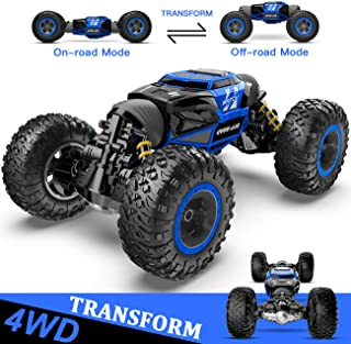 BEZGAR 16 Toy Grade1:14 Scale Remote Control Crawler, 4WD Transform 15 Km/h All Terrains Electric Toy Stunt Cars RC Monste...