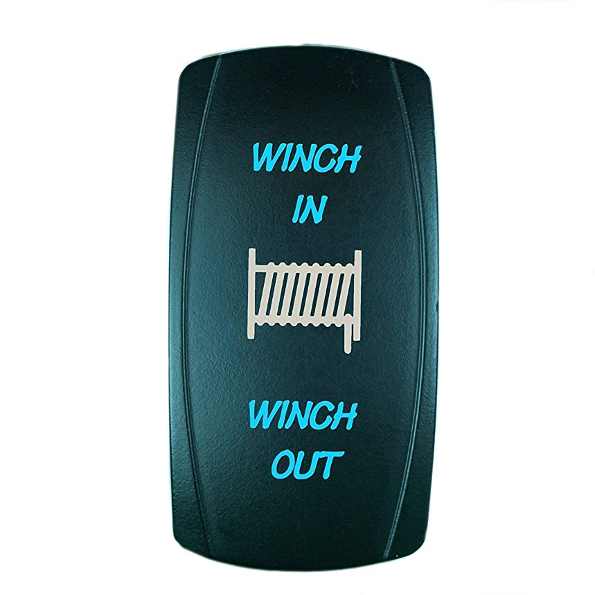 QUNQI STAR 7 pin Laser Backlit Momentary Rocker Switch WINCH IN/WINCH OUT 20A 12V (ON)-OFF-(ON) LED Light Toggle Switch (Blue)