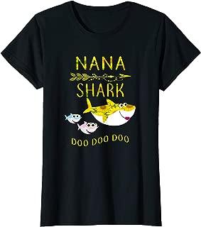 Womens Sunflower Nana Shark Doo Doo Shirt Funny Gift Nana