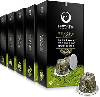 [Amazon限定ブランド] Punto Italia Espresso Journey プント・イタリア・エスプレッソ [Sencha Green Tea グリーンティー] ネスプレッソ互換カプセル 1箱10カプセル入り 5箱セット