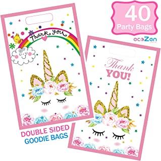 Unicorn Party Bags, 40 Packs of Unicorn Goodie Bags, Durable Plastic Unicorn Gift Bag, Ideal Unicorn Candy Bags or Unicorn Party Favor bags for Kids Birthday Party or Baby Shower