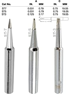 Weller, Screwdriver, Single Flat, Conical Tips, Tip Nozzle for SP40L, SP40N, WLC100, WP25, WP40, WP30 WP35, Tinned with Lead Free Alloy, (ST-3, TS-5, ST-7) One of Each