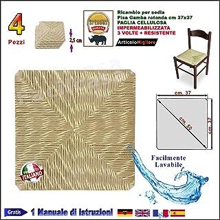 Facilcasa – Asiento de imitación de paja, forma cuadrada, 37 x 37 cm, asiento de recambio para si