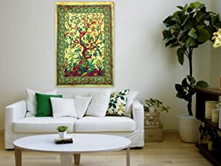 Worldwideretailers Indian Wall Decor Hippie Yellow Tree of Life Tapestries Bohemian Mandala Tapestry Wall Hanging Throw
