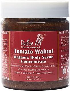 Rustic Art Organic Tomato Walnut Body Scrub Concentrate   Removes Tan & Dead Skin   For Glowing Skin   200g