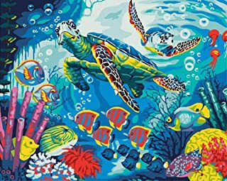 ABEUTY DIY Paint by Numbers for Adults Beginner - Underwater World & Turtle Tropical Fish Coral 16x20 inches Number Painti...