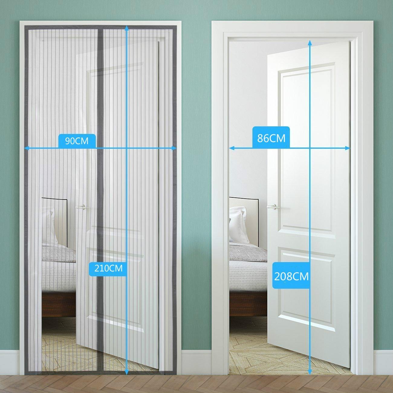 2 puertas de pantalla magnética para puerta corredera, 220 x 110 cm, puerta de mosquitera de malla.: Amazon.es ...