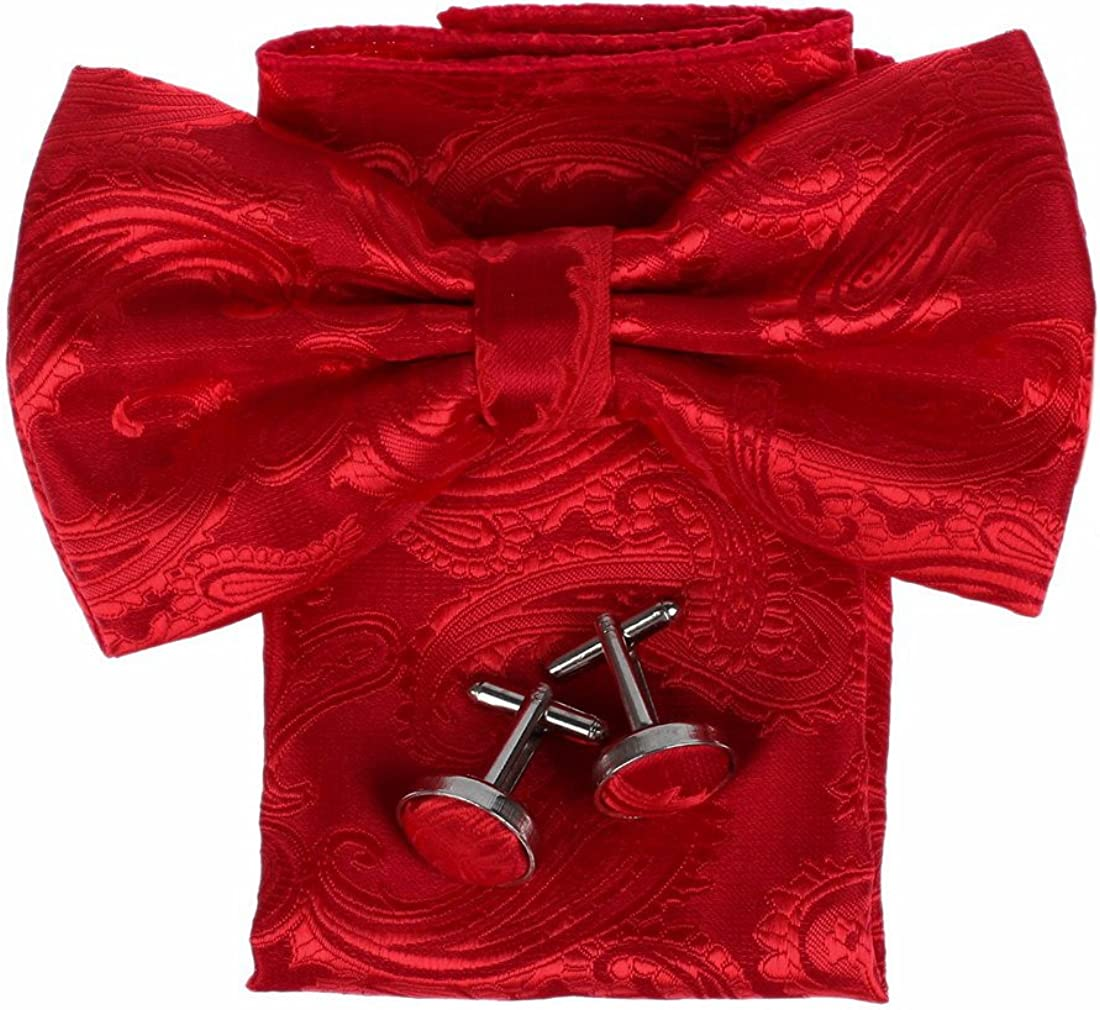 Dan Smith Men's Fashion Multi Patterned Microfiber Pre-tied Bow Tie Hanky Cufflinks With Box