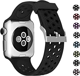SKYLET Compatible with Apple Watch Band 42mm 44mm Series 5 4 40mm, Sport Silicone Replacement Breathable Wristband Compatible with Apple Watch 38mm Series 3 2 1 with Metal Clasp Men Women Black