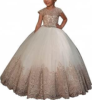 WDE Cap Sleeve Long Flower Girls Dresses for Wedding Communion Gown