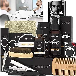 12 In 1 Beard Grooming Care Kit For Men, Dovich 100% Natural Beard Oil Leave-in Conditioner,Beard Apron Bib,Beard Razor,Be...