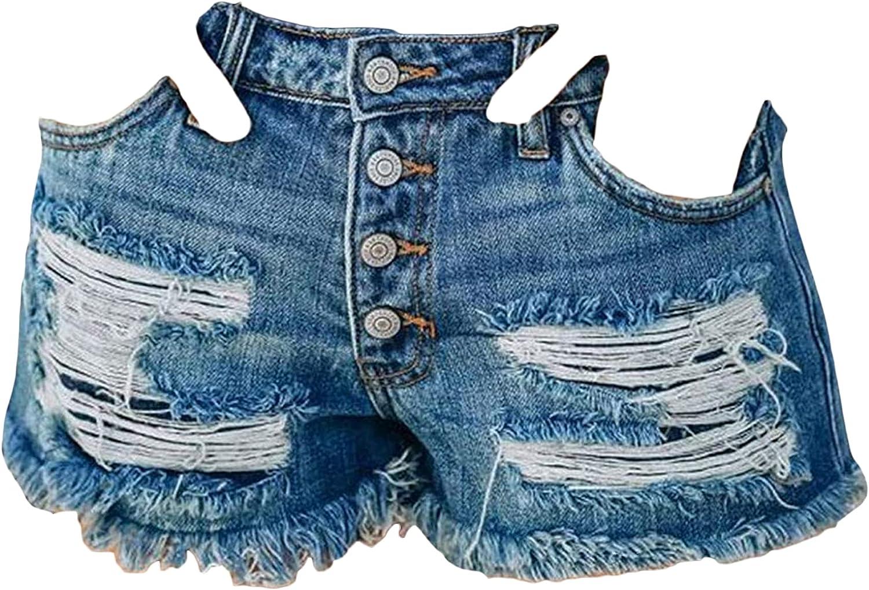 Women's Ripped Pocket Print Shorts Washed Fringed America Flag Print Hot Pant Frayed Raw Hem Distressed Denim Short (Blue,XX-Large)