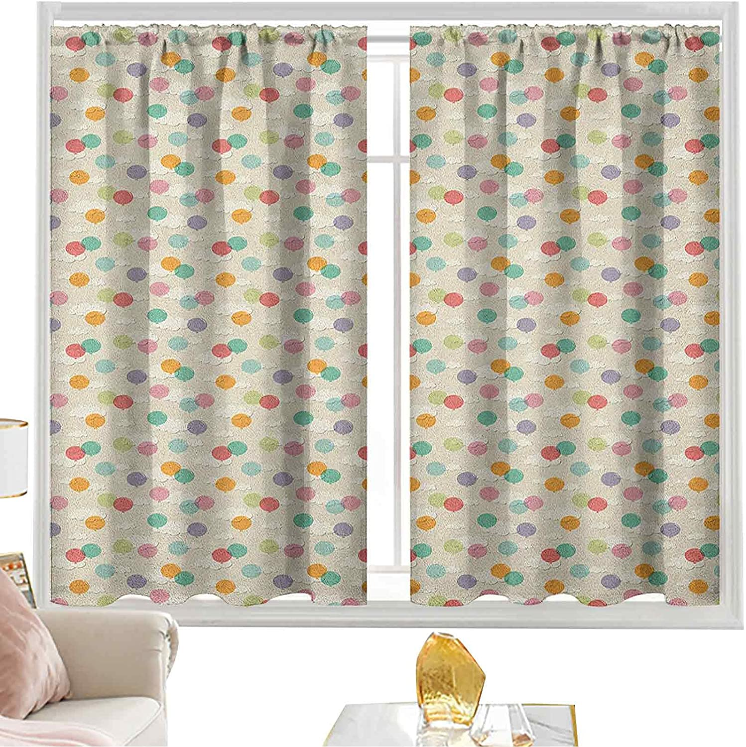 Rod Pocket Curtain Pastel Sale price Colored The Super sale Fluf Balloons Over Flying