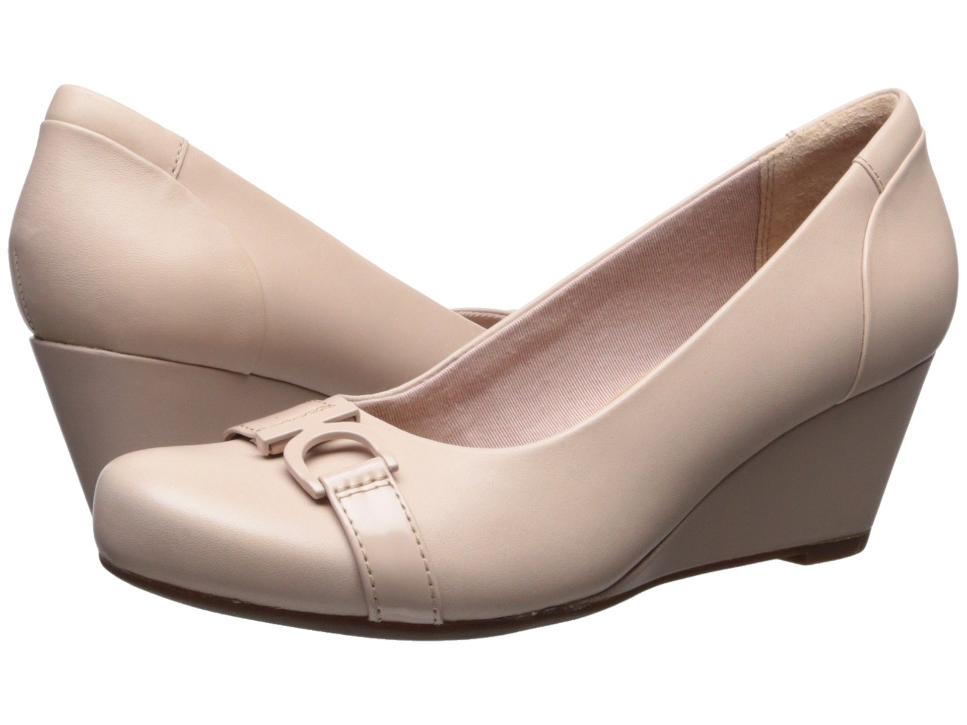 New Clarks Flores Poppy Women's Wedge Shoes, Cream Leather