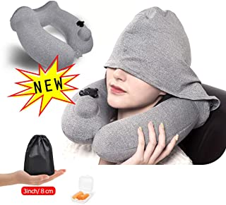 Plustore Travel Pillow, Inflatable Firm Airplane Travel Neck Pillow, Comfortable & Soft, Washable Cover with Hat, Portable Carrying Bag, Earplug, Gray