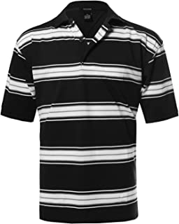Youstar Men`s Basic Casual Short Sleeves Patterned 3 Button Placket Polo (S-5XL)