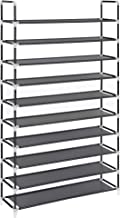 SONGMICS 10-Tier Shoe Rack, Storage Storage Organizer, Holds up to 50 Pairs, Metal Frame, Non-Woven Fabric, for Living Room, Hallway, 39.4 x 11 x 68.9 Inches, Black ULSH11H