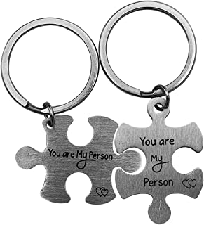 Stainless Steel Couples Puzzle Piece Keychains Set Personalized