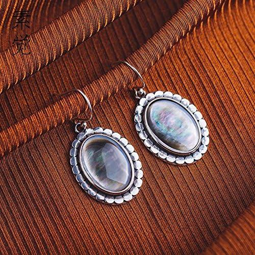 BAGEHAN 925 Silber Shell Ohrringe Joker Ohrringe Retro Ohrstecker Ohrringe, A