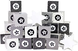 Papierdrachen DIY Advent Calendar Set - Black and White- 24 Printed Cardboard Boxes for Making and Filling