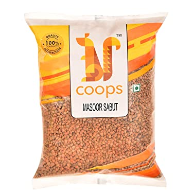 Coops Masoor Sabut Dal 1KG - Hygienically Packed 1 KG Malka Masoor Pouch