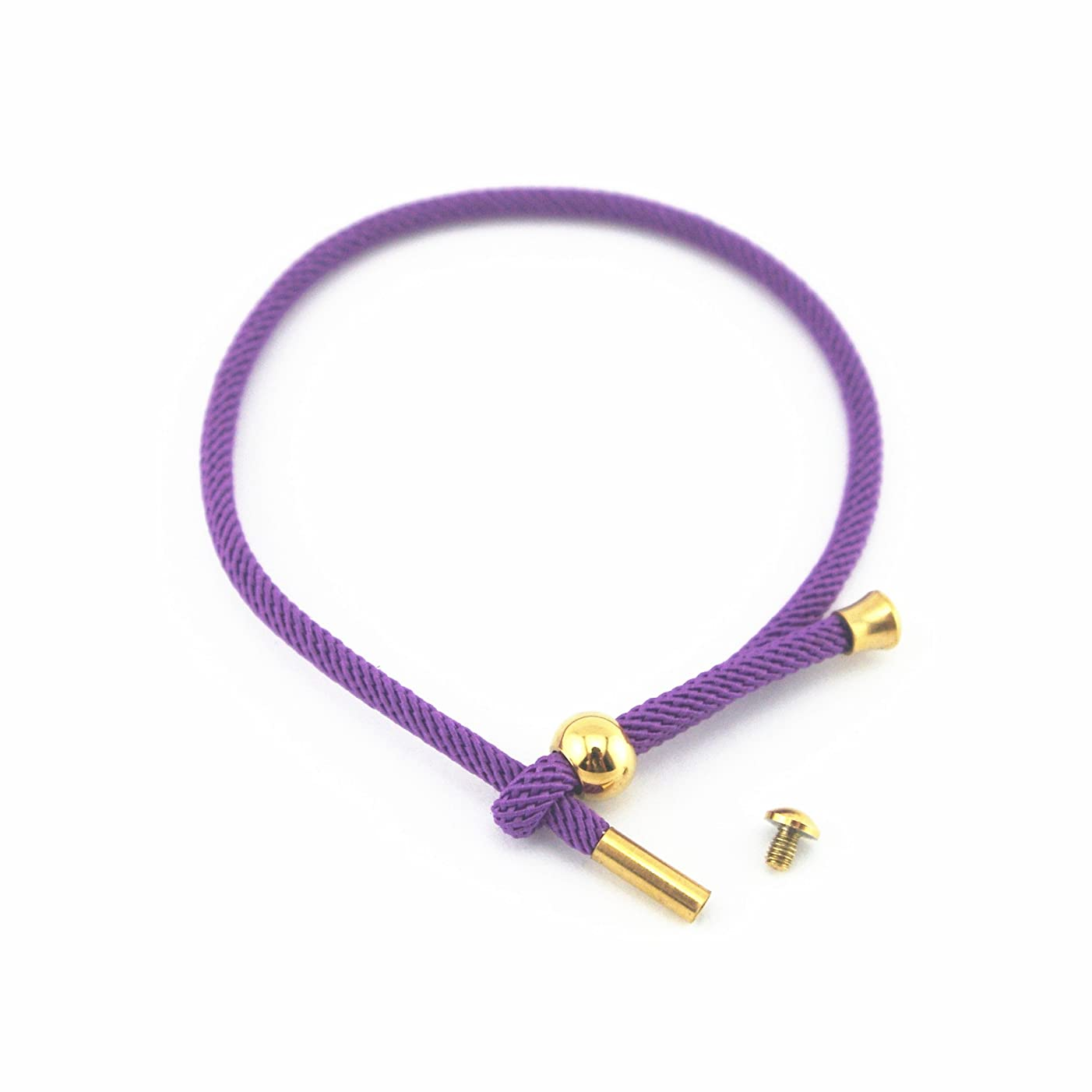 Glory Qin Adjustable Hand Rope Knitted Rope Hand Chain Stainless Steel Buckle Bracelet DIY Hand Rope (Purple)