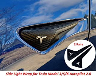 Magicalmai Tesla Side Turn Signal Indicator Wrap Side Light Chrome Delete Cover for Tesla Model S / X / 3 Autopilot 2.0 - 4D Carbon Fiber (2 Pairs)