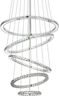 MEEROSEE MD8825-35678MN Crystal Modern LED Ceiling Fixtures Pendant Lighting Dining Room Contemporary Adjustable Stainless Steel Cable 5 Rings Chandelier, Cool White