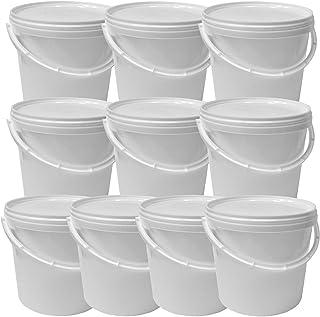 Lot de 10 seaux plastique 5 L conteneur alimentaire avec anse et couvercle (10x22052)