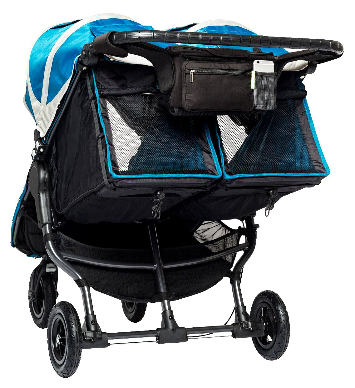 Ethan & Emma Double Stroller Organizer with Cup Holders - Fits Both Single & Double Strollers - Baby Shower Gift - Secured Fit & Extra Storage - Universal Stroller Organizer and Stroller Accessory
